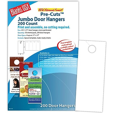 Blanks/USA® 4 1/4in. x 11in. 80 lbs. Digital Gloss Cover Door Hanger, White, 50/Pack, 200 Pieces