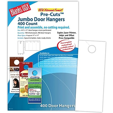 Blanks/USA® 4 1/4in. x 11in. 67 lbs. Digital Bristol Cover Door Hanger, White, 100/Pack
