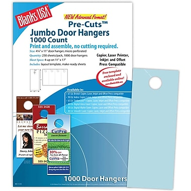 Blanks/USA® 4 1/4in. x 11in. 67 lbs. Digital Bristol Cover Door Hanger, Blue, 250/Pack, 1000 Pieces