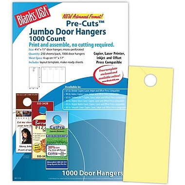 Blanks/USA® 4 1/4in. x 11in. 67 lbs. Digital Bristol Cover Door Hanger, Canary, 250/Pack, 1000 Pieces
