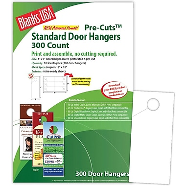 Blanks/USA® 4in. x 9in. 80 lbs. Digital Gloss Cover Door Hanger, White, 50/Pack