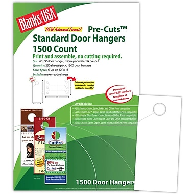 Blanks/USA® 4in. x 9in. 80 lbs. Digital Smooth Cover Door Hanger, White, 250/Pack