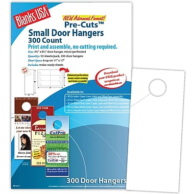 Blanks/USA® 3.67in. x 8 1/2in. 80 lbs. Digital Gloss Cover Door Hanger, White, 50/Pack