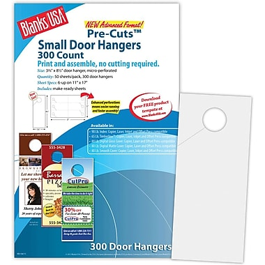 Blanks/USA® 3.67in. x 8 1/2in. 215 GSM Digital Smooth Cover Door Hangers, 50/Pack