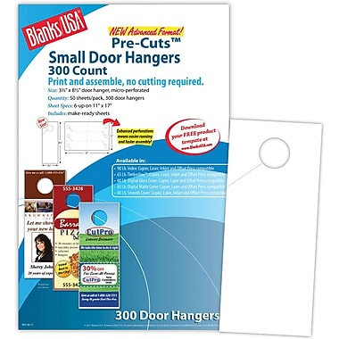 Blanks/USA® 3.67in. x 8 1/2in. 60 lbs. Digital Index Cover Door Hanger, White, 50/Pack, 300 Pieces