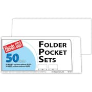 "Blanks/USA® 8 7/8"" x 4"" 10 Pt. Folder With Two Pocket, Cast Coat White, 50/Pack"