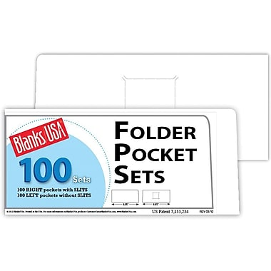 Blanks/USA® 8 7/8in. x 4in. 10 Pt. Right Folder With One Pocket, Cast Coat White, 100/Pack