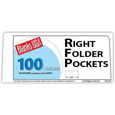 Blanks/USA® 8 7/8in. x 4in. 80 lbs. Gloss Cover Right Folder With Two Pocket, White, 100/Pack