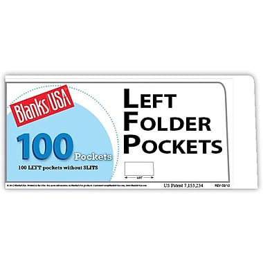 Blanks/USA® 8 7/8in. x 4in. 12 Pt. Left Folder With One Pocket, Cast Coat White, 250/Pack