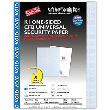 Blanks/USA® Kan't Kopy® 8 1/2in. x 11in. 20 lbs. 1 Part K1 Security Paper, Blue, 250/Pack