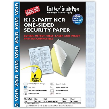 Blanks/USA® Kan't Kopy® 8 1/2in. x 11in. 20 lbs. 2 Part K1 Security Paper, Blue, 250/Pack