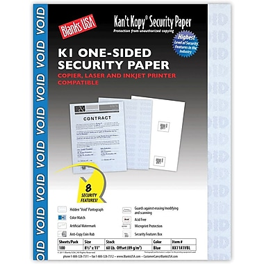Blanks/USA® Kan't Kopy® 8 1/2in. x 11in. 60 lbs. K1 Security Paper, Void Blue, 100/Pack