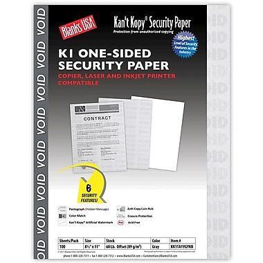 Blanks/USA® Kan't Kopy® 8 1/2in. x 11in. 60 lbs. K1 Security Paper, Void Gray, 100/Pack