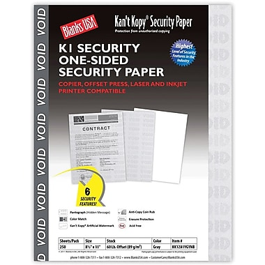 Blanks/USA® Kan't Kopy® 8 1/2in. x 11in. 89 GSM K1 Security Papers, 250/Pack