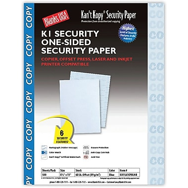 Blanks/USA® Kan't Kopy® 8 1/2in. x 11in. 60 lbs. K1 Security Paper, Copy Blue, 500/Pack