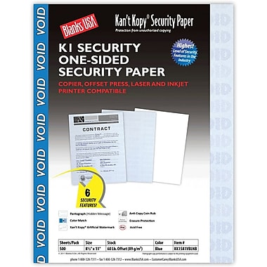 Blanks/USA® Kan't Kopy® 8 1/2in. x 11in. 60 lbs. K1 6 Features Security Paper, Void Blue, 500/Pack