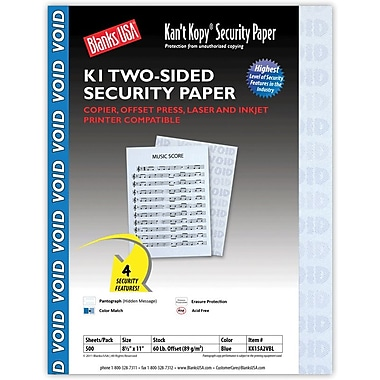 Blanks/USA® Kan't Kopy® 8 1/2in. x 11in. 60 lbs. K1 Two-Sided Security Paper, Void Blue, 500/Pack