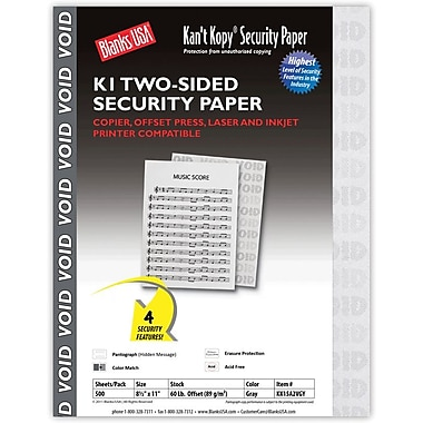 Blanks/USA® Kan't Kopy® 8 1/2in. x 11in. 60 lbs. K1 Two-Sided Security Paper, Void Gray, 500/Pack