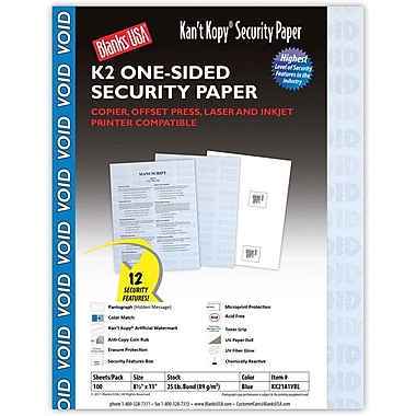 Blanks/USA® Kan't Kopy® 8 1/2in. x 11in. 60 lbs. K2 Security Paper, Void Blue, 100/Pack