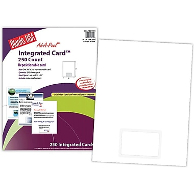 Blanks/USA® 3 3/8in. x 2.325in. 28 lbs. Ledger Integrated Card, White, 250/Pack