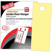 "Blanks/USA® 4 1/4"" x 11"" 67 lbs. Digital Bristol Cover Door Hanger, Canary, 50/Pack"