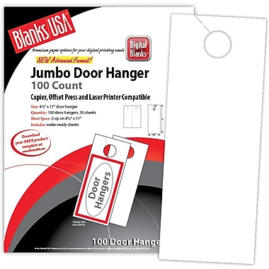 Blanks/USA® 4 1/4in. x 11in. 80 lbs. Digital Gloss Cover Door Hanger, White, 50/Pack