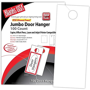 Blanks/USA® 4 1/4in. x 11in. 80 lbs. Digital Smooth Cover Door Hanger, White, 50/Pack