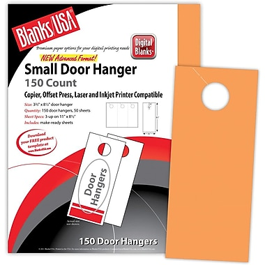 Blanks/USA® 3.67in. x 8 1/2in. 65 lbs. Digital Timberline Cover Door Hanger, Hunter's Orange, 50/Pack