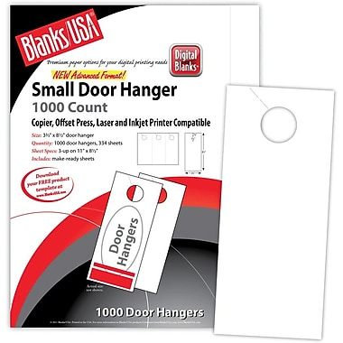 Blanks/USA® 3.67in. x 8 1/2in. 67 lbs. Digital Bristol Cover Door Hanger, White, 334/Pack
