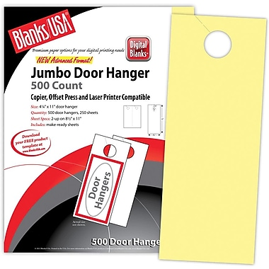 Blanks/USA® 4 1/4in. x 11in. 67 lbs. Digital Bristol Cover Door Hanger, Canary, 250/Pack