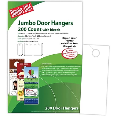 Blanks/USA® 4 1/8in. x 11in. 80 lbs. Digital Gloss Cover Door Hanger, White, 50/Pack