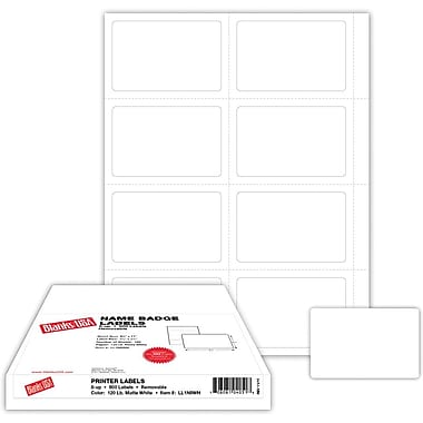 Blanks/USA® 3 1/2in. x 2 1/4in. Name Badge Label, White, 100/Pack
