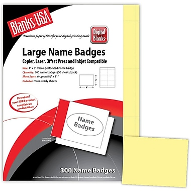 Blanks/USA® 4in. x 3in. Digital Name Badge, Canary, 50/Pack