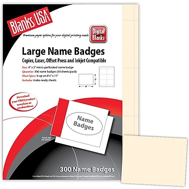 Blanks/USA® 4in. x 3in. Digital Name Badge, Ivory, 50/Pack