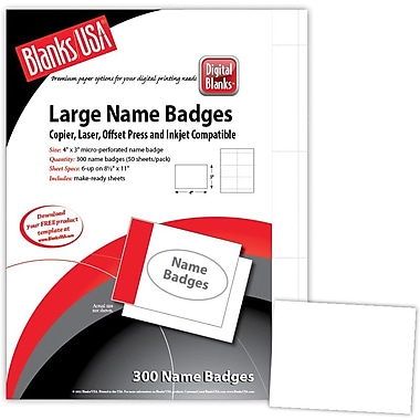Blanks/USA® 4in. x 3in. Digital Name Badge, White, 50/Pack