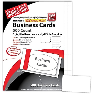 Blanks/USA® 3 1/2in. x 2in. 80 lbs. Micro-Perforated Smooth Business Card, White, 500/Pack