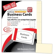 "Blanks/USA® 3 1/2"" x 2"" 65 lbs. Micro-Perforated Timberline Business Card, Ivory, 500/Pack"