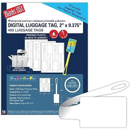 Blanks/USA 9 3/8  x 2  Digital Luggage Tags, White, 100/Pack