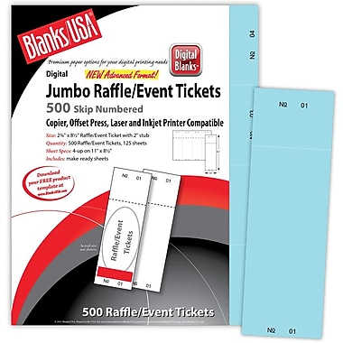 Blanks/USA® 2 3/4in. x 8 1/2in. Numbered 01-500 Digital Index Cover Raffle Tickets, 125/Pack