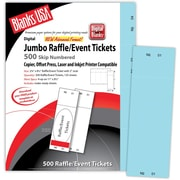 "Blanks/USA® 2 3/4"" x 8 1/2"" Numbered 01-500 Digital Index Cover Raffle Tickets, 125/Pack"