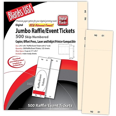 Blanks/USA® 2 3/4in. x 8 1/2in. Numbered 01-500 Digital Index Cover Raffle Ticket, Ivory, 125/Pack
