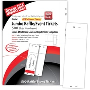 "Blanks/USA® 2 3/4"" x 8 1/2"" Numbered 01-500 Digital Index Cover Raffle Ticket, White, 125/Pack"