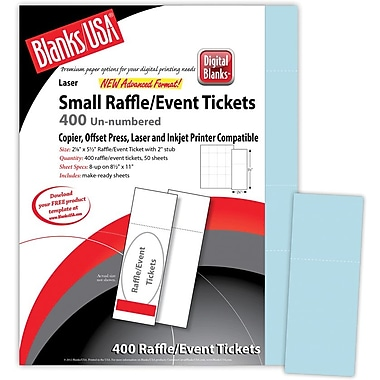 Blanks/USA® 2 1/8in. x 5 1/2in. Digital Index Cover Event Tickets, 50/Pack