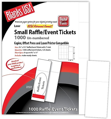 Blanks USA 2 1 8 x 5 1 2 Digital Matte Cover Event Ticket White 125 Pack
