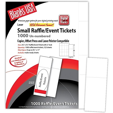 Blanks/USA® 2 1/8in. x 5 1/2in. Digital Matte Cover Event Ticket, White, 125/Pack