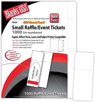 Blanks USA 2 1 8 x 5 1 2 Digital Smooth Cover Event Ticket White 125 Pack