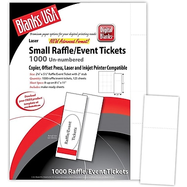 Blanks/USA® 2 1/8in. x 5 1/2in. Numbered 01-1000 Digital Smooth Cover Event Ticket, White, 125/Pack