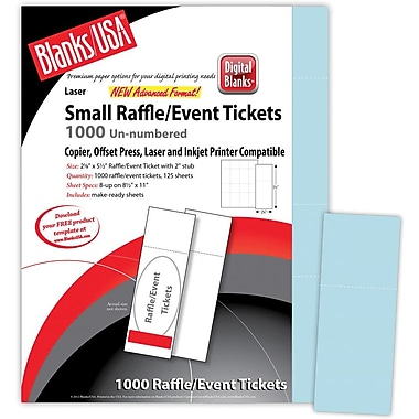 Blanks/USA® 2 1/8in. x 5 1/2in. Digital Index Cover Event Tickets, 125/Pack