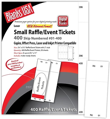 Blanks USA 2 1 8 x 5 1 2 Numbered 01 400 Digital Gloss Cover Raffle Ticket White 50 Pack
