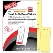 """Blanks/USA® 2 1/8"""" x 5 1/2"""" Numbered 01-400 Digital Index Cover Raffle Ticket, Yellow, 50/Pack"""
